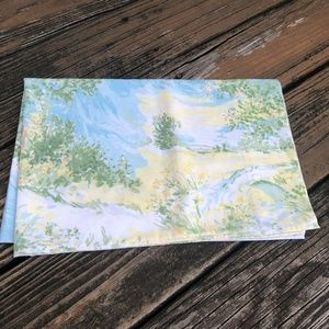 Vintage Utica Floral Pillowcase House Trees Pink